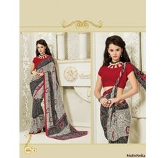 Economical Black And Red Saree In Lace Material - Sarees - Sarees - Saree,Blouse & more