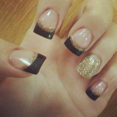 Fall nails -- Brown tips lined with gold glitter #fingernails #fallnails #toenails #nails