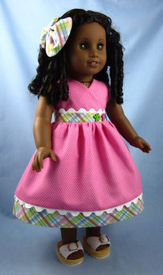 American Girl Doll Clothes  - Sundress and Hair Bow in Pink Pindot and Plaid. $20.00, via Etsy.