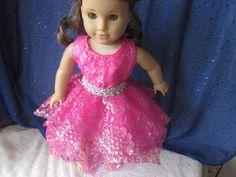 hot pink handkerchief hem glitter dress for your American Girl doll