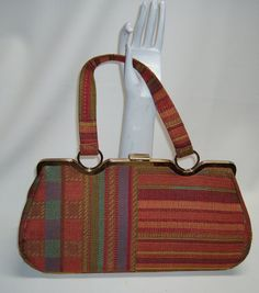 50s 60s Fabric INGBER 14 inch-Long Handbag Purse