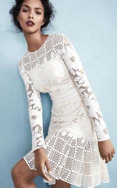 Floor length for the bride Tadashi Shoji Long-Sleeve Mixed-Media Dress, Ivory/Primrose White Fashion, Look Fashion, Fashion Details, Pretty Dresses, Beautiful Dresses, Gorgeous Dress, Lace Dress, Dress Up, Look Boho