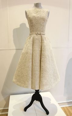 Custom Couture Dress Audrey Hepburn Inspired Lace 50s Wedding Gown. $785.00, via Etsy.