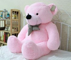 Stuffed Giant Big Plush Teddy Bear HUGE Soft 100 Cotton Doll Toy Pink for sale online Huge Teddy Bears, Large Teddy Bear, Giant Teddy Bear, White Teddy Bear, Teddy Bear Toys, Big Plush, Bear Doll, Decoration, Stuffed Animals