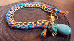 Rainbow Braided Chain and Tassel Bracelet by FindingLifeDesigns