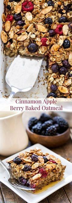 A delicious, dairy-free, gluten-free, vegan baked oatmeal that everyone will love! This Cinnamon Apple Berry Baked Oatmeal is a lightly sweetened and easy to make cozy breakfast!