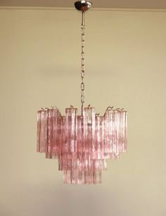 For Sale on - Italian vintage chandelier in Murano glass and nickel-plated metal structure. The armor polished nickel supports 36 large pink glass tubes in a star shape. Vintage Chandelier, Glass Chandelier, Chandelier Lighting, Vintage Lighting, Iron Chandeliers, Home Interior, Interior And Exterior, Antique Interior, Interior Livingroom