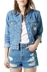 Topshop Moto 'Tilda' Denim Jacket (Mid Denim)