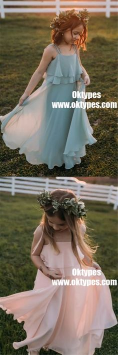 Chiffon Cheap Lovely Comfortable Cute Simple Flower Girl Dresses, TYP0847 #flowergirldress #flowergirl