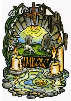 Symbols of Imbolc - Candles, Burrowing Animals, Ewes, Grain dollies, Sun Wheels, White and Yellow Flowers like Snowdrops and Daffodils and Brighid Crosses