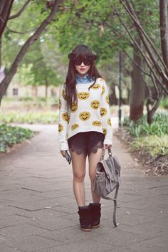 what-do-i-wear: ZeroUV Mickey flip-up sunnies, Smiley face knit...