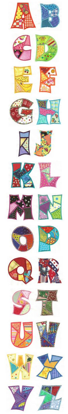 #Embroidery #letters - Free Machine Embroidery Designs | Patchwork Applique Alphabet