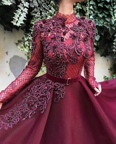 Details - Wine color - Classic honeycomb Mesh fabric - Handmade embrodered crystals and flowers - Ball-gown style with waist definition and long sleeves - Party dress Evening dress Weeding dress Dresses Elegant, Cute Dresses, Prom Dresses, Formal Dresses, Beautiful Gowns, Dream Dress, Dress To Impress, Ball Gowns, Classy Outfits