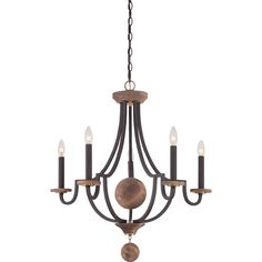 Featuring a vintage design with a touch of sophistication. This chandelier contains natural wood elements and its complemented by antique brass accents.