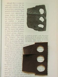 Archer's finger tab - Image from a book, with a medieval finger tab, and a modern reproduction.
