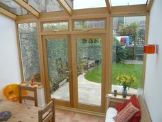 Hardwood lean to conservatory (internal), Gowercroft Joinery - Bespoke Joinery, Derbyshire Lean To Conservatory, Conservatory Kitchen, Conservatory Design, Conservatory Extension, Cosy Kitchen, Open Plan Kitchen Living Room, Bungalow Extensions, House Extensions, Cottage Dining Rooms