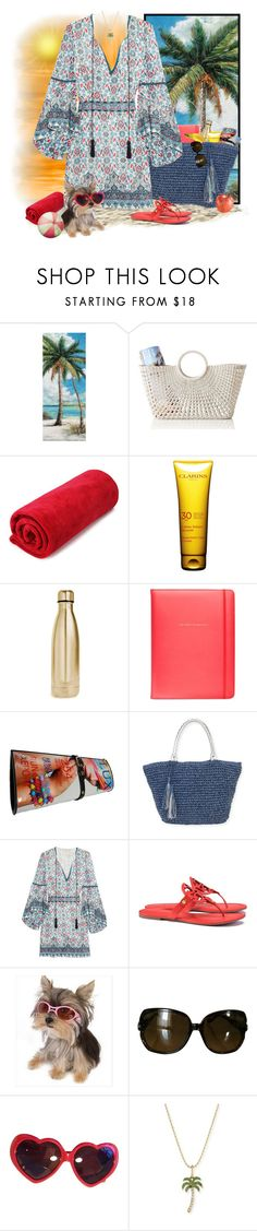 """A day by the beach"" by runners ❤ liked on Polyvore featuring Mark & Graham, Clarins, S'well, Kate Spade, Sun N' Sand, Talitha, Tory Burch, Gucci, Moschino and Sydney Evan"