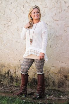 Cobo's Boutique - Sweater with Lace Ruffle in Ivory, Mocha or Burgundy, $42.00 (http://www.cobosboutique.com/sweater-with-lace-ruffle-in-ivory-mocha-or-burgundy/)