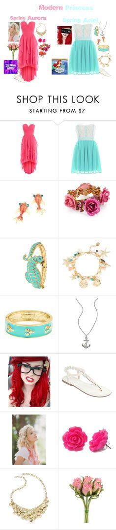 """Modern Disney Princess: Spring Aurora and Ariel"" by rebecca41622 ❤ liked on Polyvore featuring Coast, Erickson Beamon, Fornash, Lafonn, Mixit, Whichgoose, Style & Co., Dorothy Perkins and modern"