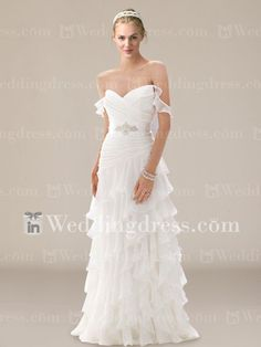 Tiered Chiffon Wedding Gown with Off-the-Shoulder Straps DE203