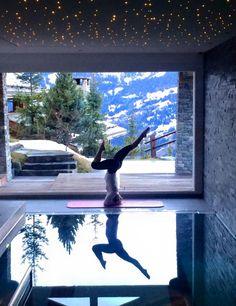 Headstands at Chalet Spa, Verbier #verbier #chalet #spa #headstand #yoga #luxury #switzerland
