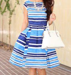 Kate spade blue stripe dress