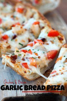 Chicken and Bacon Garlic Bread Pizza   heatherlikesfood.com