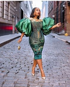 we are for those ballon sleeves😍 Belle 👗: . African Lace Dresses, Latest African Fashion Dresses, African Print Fashion, Nigerian Fashion, African Clothes, African Wedding Attire, African Attire, African Wear, African Style