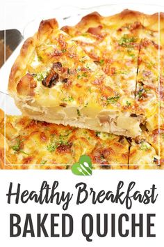 This Breakfast Baked Quiche recipe is quick (if you don't count the 2 hours of dough chilling time) and really simple. It makes a satisfying dish: flaky pie crust with a rich filling that's customizable to your likings. #healthy #breakfast #baked #quiche #eggrecipes #potatoes #casserole #healthyrecipes101 Baked Quiche Recipe, Quiche Recipes, Brunch Recipes, Casserole Recipes, Best Egg Recipes, Good Healthy Recipes, Baking Recipes, Breakfast Bake, Best Breakfast