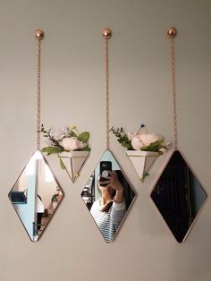 Umbra Trigg Hanging Planter Vase & Geometric Wall Decor Container - Great For Succulent Plants, Air Plant, Mini Cactus, Faux Plants and More, White Ceramic/Brass (Set of Home & Kitchen Home Decor Accessories, Decorative Accessories, Cheap Home Decor, Diy Home Decor, Diy Decoration, Mini Cactus, Cactus Flower, Cute Room Decor, Bedroom Wall Decorations
