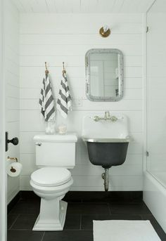 Floor / Mirror / Shiplap Walls / Hamptons Cottage | Jenny Wolf Interiors wall sink