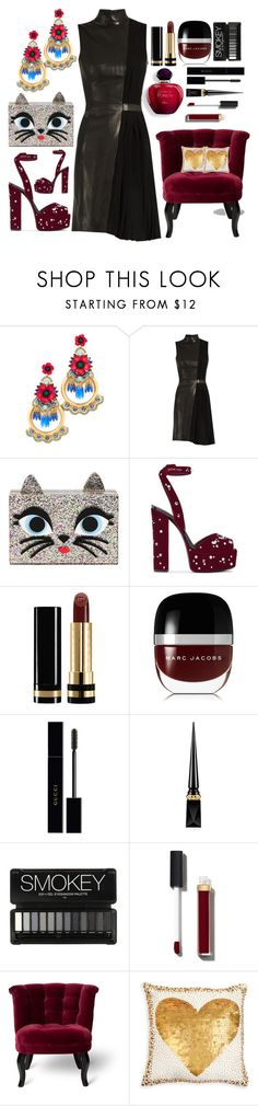 """The Kitty Clutch At The Party"" by pulseofthematter ❤ liked on Polyvore featuring Elizabeth Cole, Thierry Mugler, Karl Lagerfeld, Giuseppe Zanotti, Gucci, Marc Jacobs, Christian Louboutin, Chanel and Jonathan Adler"