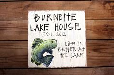 Wooden Signs, Wood Art, Wood Signs, Lake signs, Distressed Custom Family Lake House Wood Sign with bass fish. $29.00, via Etsy.