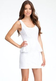 b79cf559a237 Peony Eyelet Peplum Dress - With beautiful eyelet detail, perfect scoop  neckline and figure-accentuating peplum flare, this bebe summer dress is  sure to ...