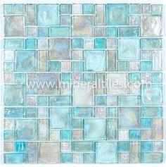 Mineral Tiles - Iridescent Glass Mosaic Tile Clear Random Blend, $14.95 (http://www.mineraltiles.com/iridescent-glass-mosaic-tile-clear-random-blend/)