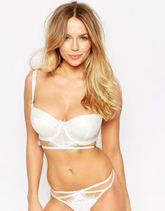Image 1 of ASOS FULLER BUST BRIDAL Evie Lace & Satin Cut Out Balconette Bra