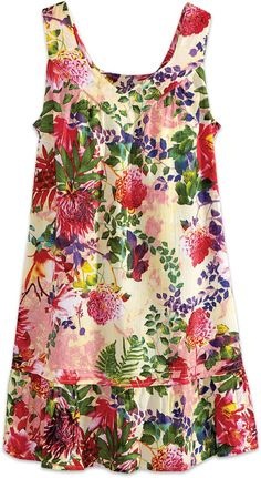 Sleeveless Cotton Nightgown with Tropical Print Simple Dresses, Nice Dresses, Summer Dresses, Summer Clothes, Prom Dresses, Casual Gowns, Clubbing Outfits, Sewing Blouses, Simple Shirts