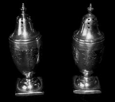 Victorian silver salt and pepper shakers.
