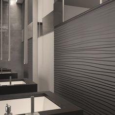 Il #design marcato e lineare di DO UP TOUCH Feel #abkemozioni è reso ancora più intenso dal colore Antracite matt.#ceramic #tiles #wall #wallandporcelain #interiordesign #bathroom #decor