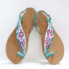 CHRISTMAS IN JULY, Greek Leather Sandals, Turquoise Sandals, Slingback Sandals, Flat Sandals, Ombre Shoes, Prom Shoes, Handpainted Shoes