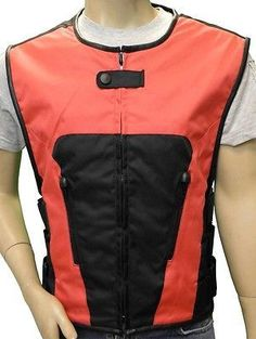 MEN'S BIKER UPDATED RED SWAT TEAM STYLE TEXTILE MOTORCYCLE VEST NEW