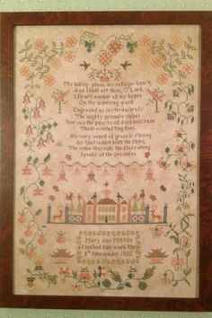 Mary Ann Mitton 1832 reproduction sampler chart by MerryWindFarm
