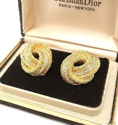 Authentic Christian Dior Rhinestones Gold Knotted Rope Clip on Earrings w/Case - http://designerjewelrygalleria.com/christian-dior/authentic-christian-dior-rhinestones-gold-knotted-rope-clip-on-earrings-wcase/