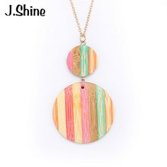 steps to Original Price US $2.75 Sale Price US $2.42 JShine Unique Gold Color Chain Colorful Wood Round Pendants Necklaces for Women 2017 New Long Pendant Jewelry Accessories 10 times better than before #unique_necklaces