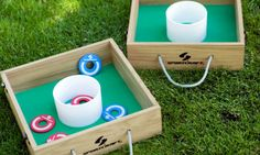 """Washer Toss Game Perfect for tailgate events, outdoor parties, or extremely laid-back wedding ceremonies Players toss washers into plastic cups to score points Can be played with two individuals or two teams with numerous people Portable and compact design for easy play in smaller spaces Weight: 11 lbs 3 oz. Dimensions: 14"""" (L) x 15"""" (W) x 8"""" (H)"""