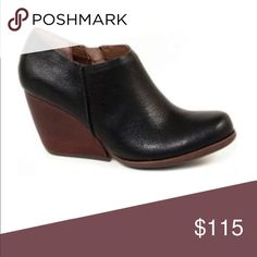 Kork Ease Holmes Bootie A bold and chunky demi-wedge heel complements the round-toe shape of a beautifully burnished, leather bootie with an abbreviated, raw-edge shaft. Kork Ease Shoes Mules & Clogs