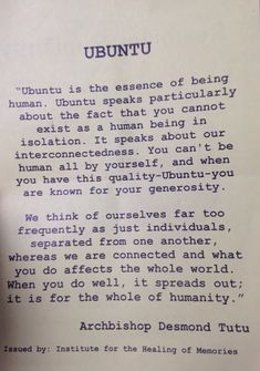 Ubuntu: a snapshot of the intrinsic value of humanity within a post-Apartheid South Africa Words Of Wisdom Quotes, Wise Words, Quotes To Live By, Me Quotes, Peace Quotes, Change Quotes, Africa Quotes, Quotes About Africa, Texts