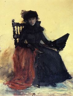 A Lady in Black (aka The Red Shawl) - William Merritt Chase 1883 Impressionism
