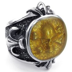 KONOV Jewelry Mens Stainless Steel Ring, Gothic Skull Signet, Gold Silver, Size 11. Check it out at skullcart.com #skull #skulls #ring #skullcart #jewelry