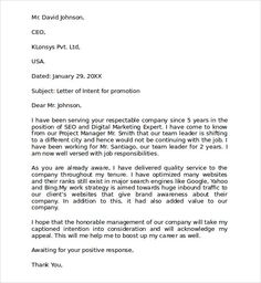 sample letter intent for promotion templates letters writing professional - Resume And Letter Of Intent